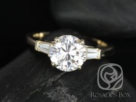 Rosados Box Francis 8mm 14kt Yellow Gold Round F1- Moissanite and Diamond Baguette Engagement Ring