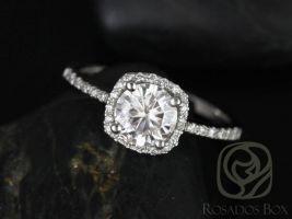 SALE Rosados Box Ready to Ship Barra 6mm Platinum Round FB Moissanite Diamonds Cushion Halo Engagement Ring