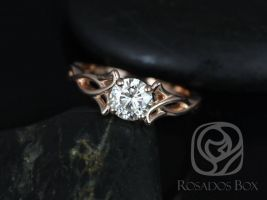 Rosados Box Orla 6mm 14kt Rose Gold Round F1- Moissanite Celtic Knot Triquetra Engagement Ring