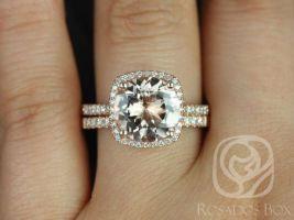 Rosados Box Ready to Ship Barra 10mm 14kt Rose Gold Round Morganite and Diamonds Cushion Halo Classic Wedding Set