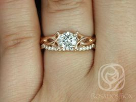 SALE Rosados Box Ready to Ship Orla 6mm & DIA Band 14kt Rose Gold Round FB Moissanite and Diamonds Celtic Knot Triquetra Classic Wedding Set