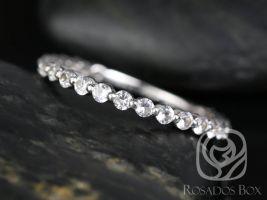 Rosados Box DIAMOND FREE Petite Naomi/Petite Bubble & Breathe 14kt White Gold White Sapphire ALMOST Eternity Band