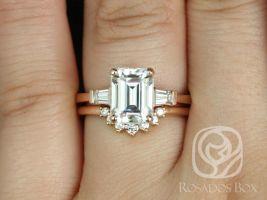 Rosados Box 2ct Farrah 9x7mm & Rayna 1.0 14kt Rose Gold Emerald Forever One Moissanite and Diamond Baguette Wedding Set Rings