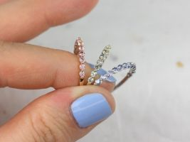 Rosados Box Petite Naomi/Petite Bubble & Breathe 14kt Gold Rainbow Blue Black Grey Pink Sapphire HALFWAY Eternity Band
