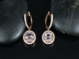 14kt Rose Gold Oval 9x7mm Morganite & Diamond Halo Dangle Earrings