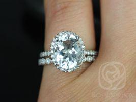Rosados Box Jessica 10x8mm & Petite Bubbles 14kt White Gold Oval White Topaz and Diamonds Halo Wedding Set
