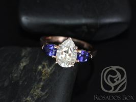 Rosados Box Kasey 14k Rose Gold Pear Shaped Engagement Ring F1- Moissanite & Blue Sapphire 3 Stone 10x7mm