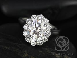 Rosados Box Katherine 10x8mm 14kt White Gold Oval F1- Moissanite and Diamond Flower Petal Halo Engagement Ring