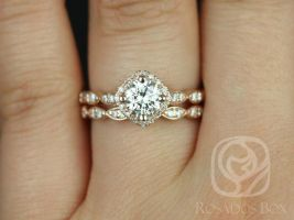 Rosados Box Katya 6mm 14kt Gold Round F1- Moissanite and Diamonds Kite Halo WITHOUT Milgrain Wedding Set