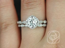 Rosados Box Katya 7mm 14kt White Gold Round F1- Moissanite and Diamond Halo WITH Milgrain Classic Wedding Set