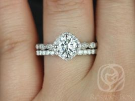 Rosados Box Katya 7mm & Taylor 14kt White Gold Round F1- Moissanite and Diamond Halo WITH Milgrain Engagement Ring