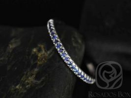Rosados Box Kierra 14kt White Gold Thin French Pave Blue Sapphire Halfway Eternity Band