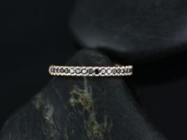 Rosados Box Kierra Rose Gold French Pave Black Diamonds Halfway Eternity Band