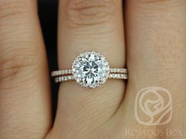 Rosados Box Kimberly 7.5mm 14kt Rose Gold Round F1- Moissanite and Diamond Halo Wedding Set