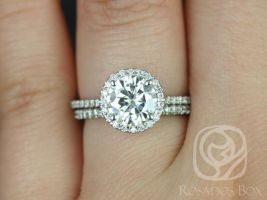 Rosados Box Kimberly 7.5mm Platinum Round Forever One Moissanite Diamond Halo Classic Wedding Set