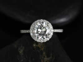 Rosados Box Kimberly 7.5mm Platinum Round Forever One Moissanite Diamonds Halo Engagement Ring