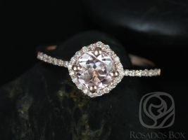 Rosados Box Kitana 6mm 14kt Rose Gold Round Morganite and Diamond Cushion Halo Engagement Ring