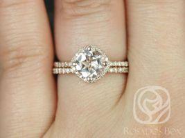 Rosados Box Kitana 7mm 14kt Rose Gold Round Morganite and Diamond Cushion Halo Wedding Set