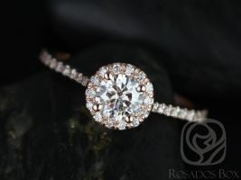 Rosados Box Kubian 5mm 14kt Rose Gold Round F1- Moissanite and Diamonds Halo Engagement Ring