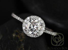 Rosados Box Kubian 6mm 14kt White Gold Round F1- Moissanite and Diamonds Halo Engagement Ring