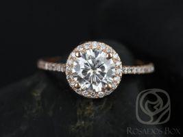 Rosados Box Kubian 7mm 14kt Rose Gold Round F1- Moissanite and Diamonds Halo Engagement Ring