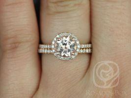 Rosados Box Kubian 7mm 14kt Rose Gold Round Morganite and Diamonds Halo Classic Wedding Set