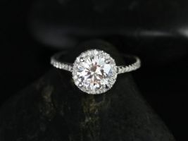 Rosados Box Kubian 7mm 14kt White Gold Round F1- Moissanite and Diamonds Halo Engagement Ring