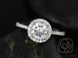 Rosados Box Kubian 7mm 14kt White Gold Round White Topaz and Diamond Halo Engagement Ring