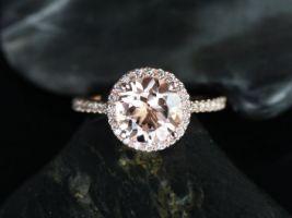 Rosados Box DIAMOND FREE Kubian 8mm 14kt Rose Gold Round Morganite and White Sapphires Halo Engagement Ring