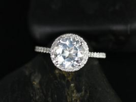 Rosados Box DIAMOND FREE Kubian 8mm 14kt White Gold Round White Topaz and White Sapphires Halo Engagement Ring