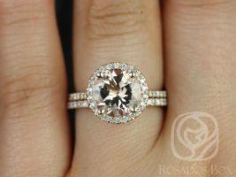 Rosados Box Kubian 9mm Rose Gold Round Morganite and Diamonds Halo Wedding Set