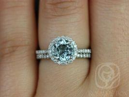 Rosados Box Kubian 7mm 14kt White Gold Round Aquamarine and Diamonds Halo Wedding Set