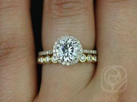 Rosados Box Kubian 7mm & Original Bubbles 14kt Yellow Gold Round F1- Moissanite and Diamonds Halo Wedding Set