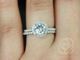 Rosados Box Kubian 7mm 14kt White Gold Round White Topaz Halo and Diamonds Wedding Set
