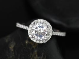 Rosados Box Kubian 8mm 14kt White Gold Round White Topaz Halo Engagement Ring