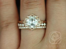Rosados Box Lily 7mm, Naomi, & Pernella 14kt Rose Gold Cushion F1- Moissanite and Diamond Kite Halo TRIO Wedding Set