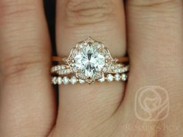 Rosados Box Lily 7mm, Twyla, & Pte Naomi 14kt Rose Gold Cushion F1- Moissanite and Diamond Kite Halo TRIO Wedding Set