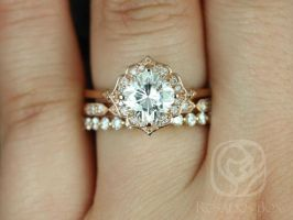 Rosados Box Lily 7mm, Stella, & Pte Naomi 14kt Rose Gold Cushion F1- Moissanite and Diamond Kite Halo TRIO Wedding Set
