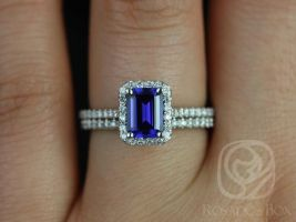 Rosados Box Lisette 7x5mm 14kt White Gold Rectangle Emerald Cut Blue Sapphire and Diamonds Halo Wedding Set
