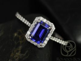 Rosados Box Lisette 7x5mm 14kt White Gold Rectangle Emerald Cut Blue Sapphire and Diamonds Halo Engagement Ring