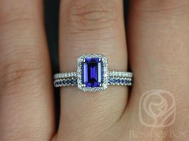 Rosados Box Lisette 7x5 mm & Kierra 14kt White Gold Rectangular Emerald Cut Blue Sapphire and Diamonds Halo Wedding Set