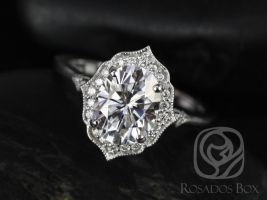 Rosados Box Mae 9x7mm 14kt White Gold Oval F1- Moissanite and Diamond Halo WITH Milgrain Engagement Ring