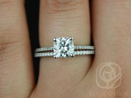 Rosados Box Marcelle 6.5mm 14kt White Gold Cushion F1- Moissanite and Diamond Cathedral Wedding Set