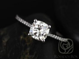 Rosados Box Marcelle 6.5mm 14kt White Gold Cushion F1- Moissanite and Diamonds Cathedral Engagement Ring