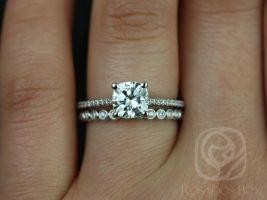 Rosados Box Marcelle 6.5mm & Petite Bubbles 14kt White Gold Cushion F1- Moissanite and Diamond Wedding Set