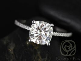 Rosados Box Marcelle 8mm 14kt White Gold Cushion F1- Moissanite and Diamonds Cathedral Engagement Ring