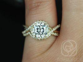 Rosados Box Maritza 7mm 14kt Yellow Gold Round F1- Moissanite and Diamonds Halo Twist Wedding Set