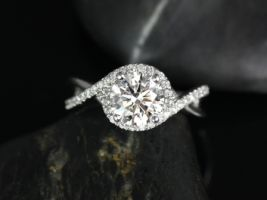 Rosados Box Maritza 7mm 14kt White Gold Round F1- Moissanite and Diamonds Halo Twist Engagement Ring