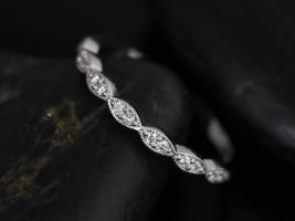 Rosados Box 14kt Matching Band to Christie/Katya/Sunny Diamonds WITH Milgrain Leaves HALFWAY Eternity Band