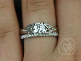 Rosados Box MaryBeth 5.5mm & Pernella 14kt White Gold Cushion F1- Moissanite and Diamond Celtic Knot Wedding Set